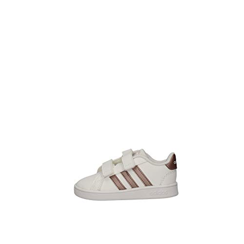 adidas Grand Court I, Pantofole Unisex-Bimbi, Multicolore (Ftwwht/Coppmt/Glopnk 000), 23...