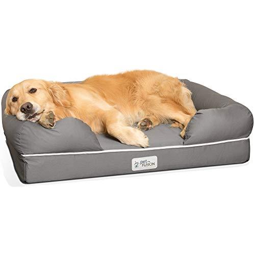 PetFusion Memory Foam Dog Bed per Cani di Taglia Media e Grande, Grigio
