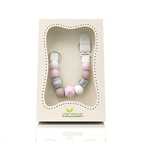 Little Sprouts - Catenina per ciuccio 2n1 - Moderna e alla moda - Perline in silicone con...