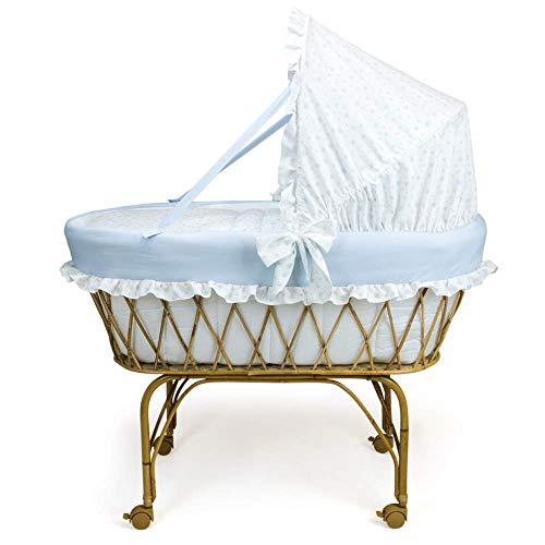 Babysanity - Culla cesta in vimini neonato con carrello e ruote fatta artigianalmente nel...