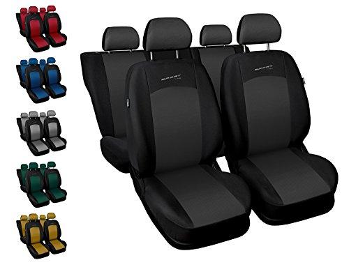 CoprisediliAuto Anteriori e Posteriori Copri-sedile con Airbag Sistema Sport Line - Nero...