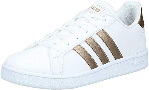 adidas Grand Court K, Scarpe da Tennis, Ftwwht/Coppmt/Glopnk, 36 2/3 EU