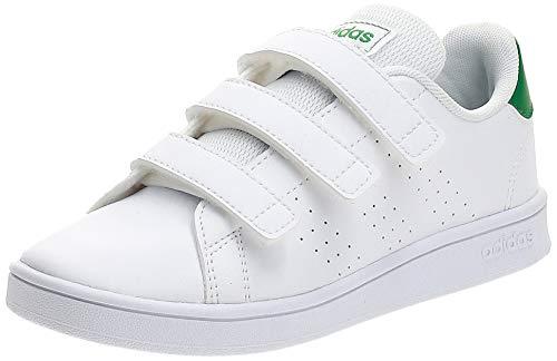 adidas Advantage C, Scarpe da Tennis, Ftwr White/Green/Grey Two f17, 33 EU