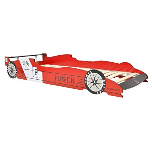 vidaXL Letto Cameretta per Bambini Auto da Corsa 90x200 cm Rosso Lettino Bimbi