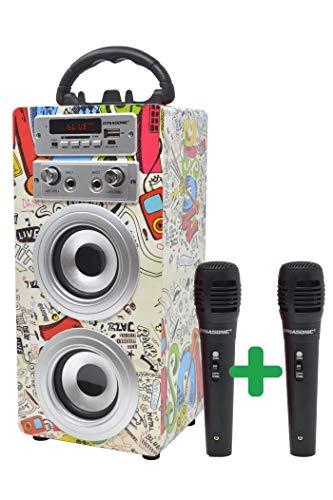 DYNASONIC - Altoparlante Bluetooth portatile per karaoke con microfoni inclusi | USB e...