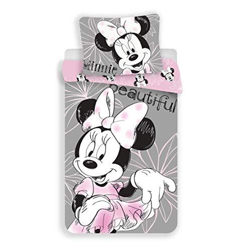 JF Disney - Biancheria da letto double-face, motivo: Minnie Mouse. 140 x 200 cm, cuscino...