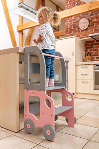 Torre d'apprendimento, scrivania e sgabello Montessori