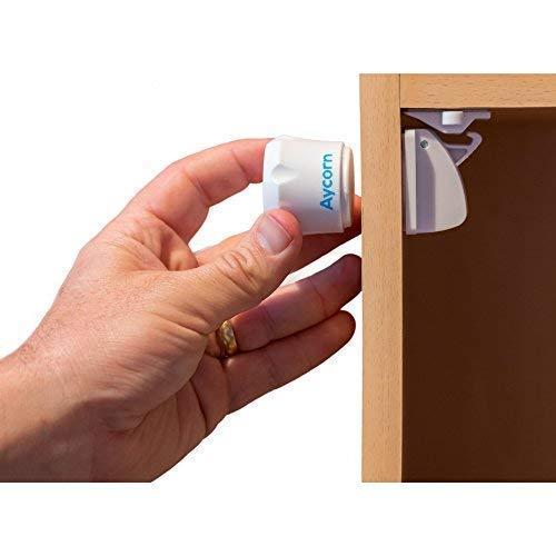AYCORN Serrature magnetiche a prova di sicurezza per bambini e neonati, 10 serrature e 2...