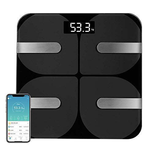 Coralov Bilancia per il grasso corporeo con APP, Bilance digitali Bluetooth personali...