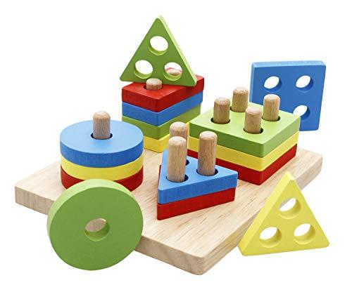 Lewo Di Legno educativi del Bambino Giocattoli Forme Geometriche Blocco Bordo Pila Puzzle...
