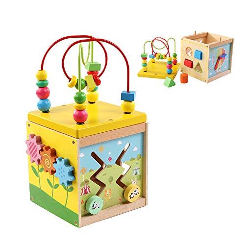 Cubo di Attività Giocattoli, con labirinto di legno, orologio con apprendimento e gioco...