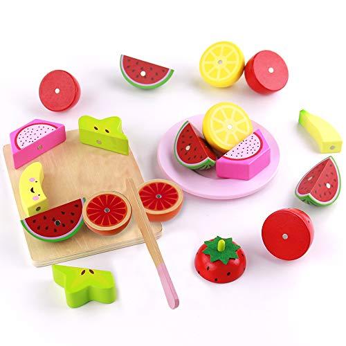 Nuheby 21 Pezzi Frutta Verdura Cucina Giocattolo per Bambini Legno Frutta da Tagliare Cibo...