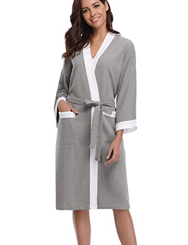 Abollria Vestaglia Lunga da Donna in Cotone al 95% Elegante Sexy Pigiama Kimono con...