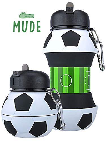 Mude-Borraccia Calcio-550 millilitri-Divertente e Indistruttibile, In Silicone Apribile e...