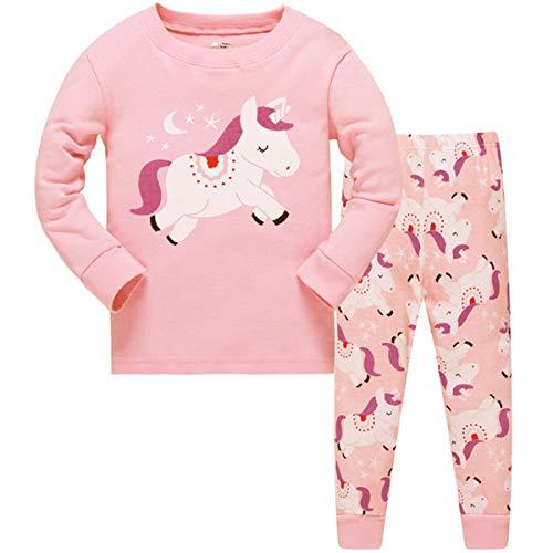 Tkiames - Pigiama a maniche lunghe da bambina, in cotone, motivo: giraffa, taglia...