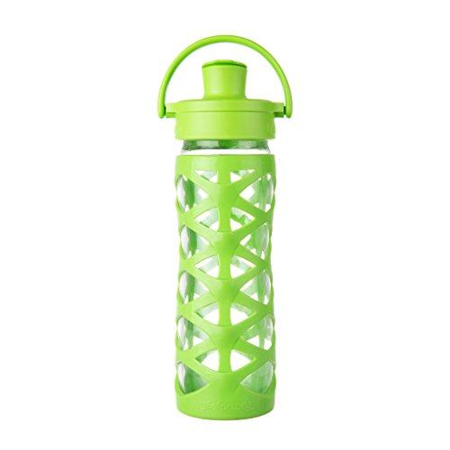 Lifefactory – Borraccia in Vetro con Active Flip cap, Vetro, Lime, 6.5 x 6.5 x 27 cm