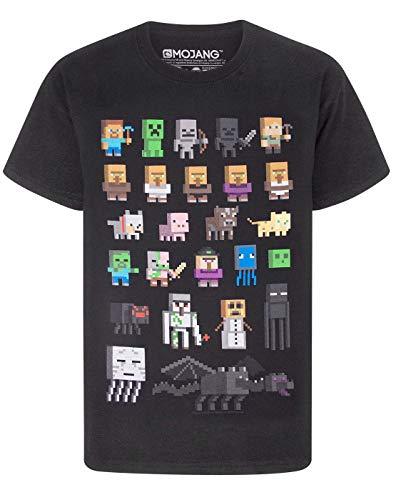 T-shirt per bambini e ragazzi, con i personaggi del videogioco Minecraft Black 9-10 Anni