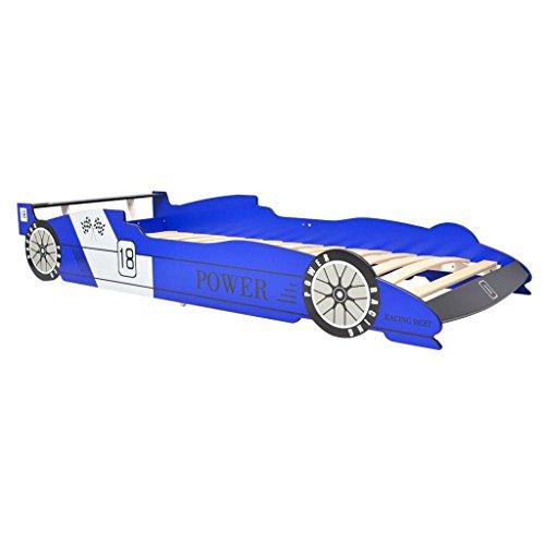 vidaXL Letto Cameretta per Bambini Auto da Corsa 90x200 cm Blu Lettino Bimbi