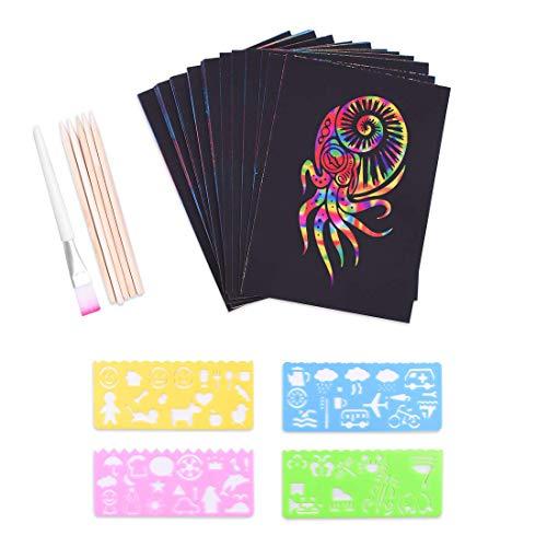 Set di carta da raschiare per bambini, 50 fogli grandi, arcobaleno, carta per disegnare e...