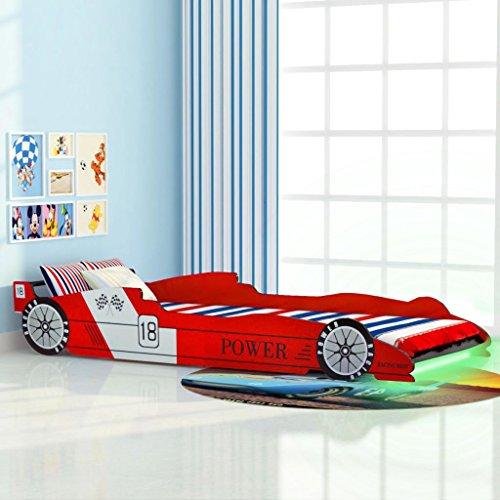 vidaXL Letto a LED per Cameretta Bambino Auto da Corsa 90x200 cm Rosso Lettino