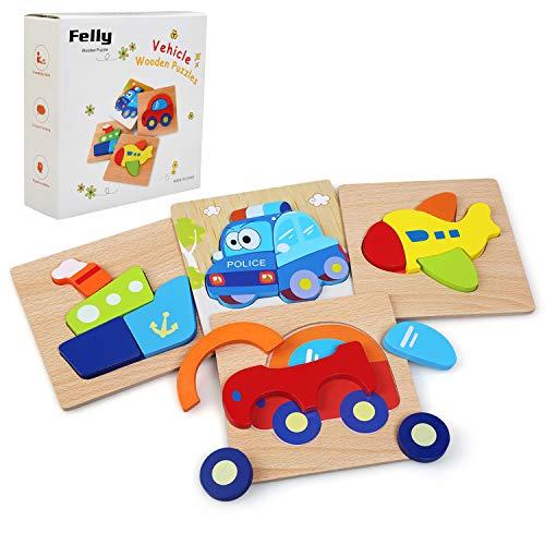 Felly Giochi Bambini, Giochi Montessori Auto da Puzzle in Legno, Educativo Giocattoli...