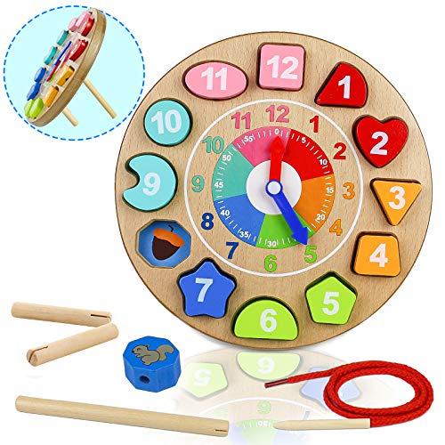 Orologio Giocattolo Bambino Montessori Giocattoli de Puzzle in Legno 4 in 1 Regalo...
