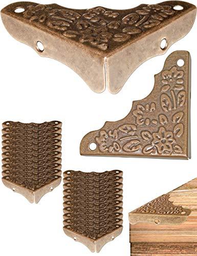 Fuxxer®,Paraspigoli per mobili, effetto vintage anticato, in ottone, 20 pezzi