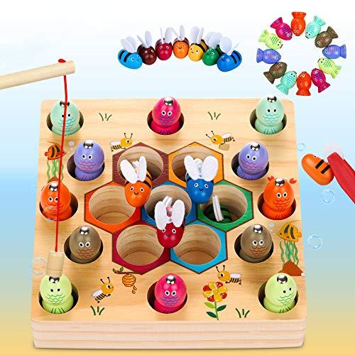 Dookey Giochi di Pesca, 2 in 1 Giochi Montessori Magnetici di Pesca in Legno, Educazione...