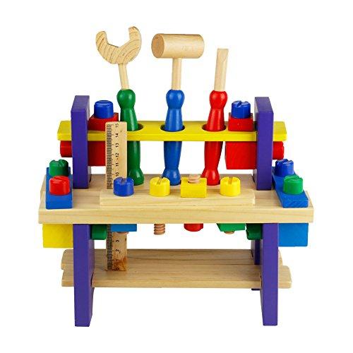 Nuheby Kit Attrezzi per Bambini 42 PCS Cassetta Attrezzi in Legno da Lavoro Giochi per...