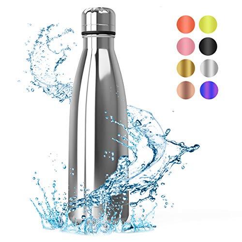 Festnight Bottiglia Termica per Acqua Borraccia Acciaio Lavastoviglie 500ml, Senza BPA...