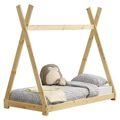 [en.casa] Letto per Bambini 80 x 160 cm Design Teepee Indiano Lettino a Tenda Legno di...
