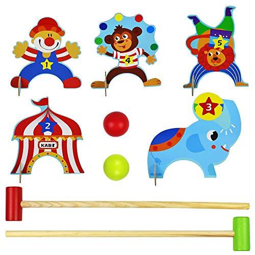 yoptote Giochi Sportivi Croquet Bambini, Minigolf da Casa Birilli Bambini Giochi in Legno...