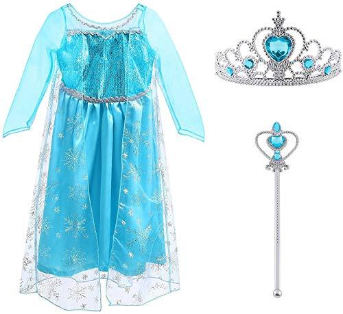 Vicloon Elsa Costume, Set da Principessa Elsa Corona Bacchetta Guanti Treccia,Ragazze Elsa...