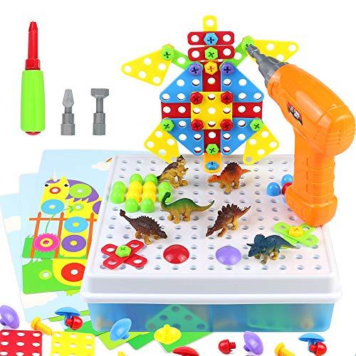 Costruzioni per Bambini Puzzle 3D con Dinosauri Giocattolo Trapano Kit di Strumenti...