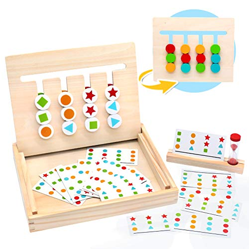 Symiu Montessori in Legno Puzzle Matematica Ordinamento Giocattolo Educativo con Carte...