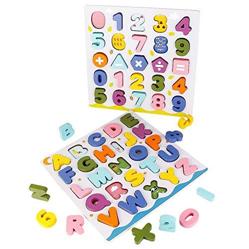 jerryvon Giochi Legno Montessori Puzzle Set con Alfabeto e Numeri in Legno Lettere...