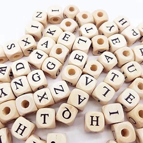 Sprießen 200 PCS di Alfabeto in Legno Naturale, Perle di Alfabeto in Legno ABC Puzzle,...