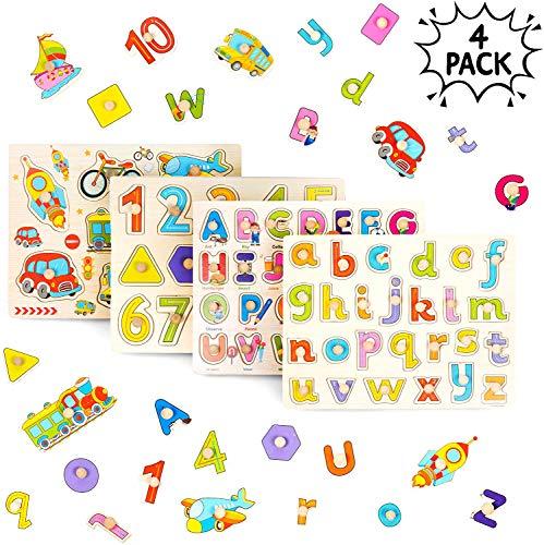 THE TWIDDLERS 4 PCS Puzzle in Legno per Bebè - Puzzle Veicoli Lettere Alfabeto ABC,...