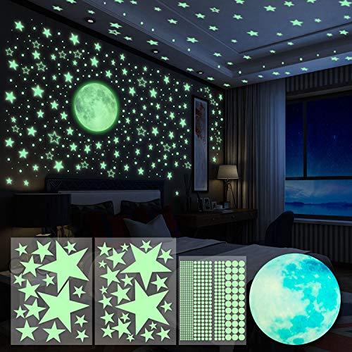 Yosemy Adesivi da Parete Fluorescenti 4pcs Stelle Luna Puntini Fluorescenti Decorazione...