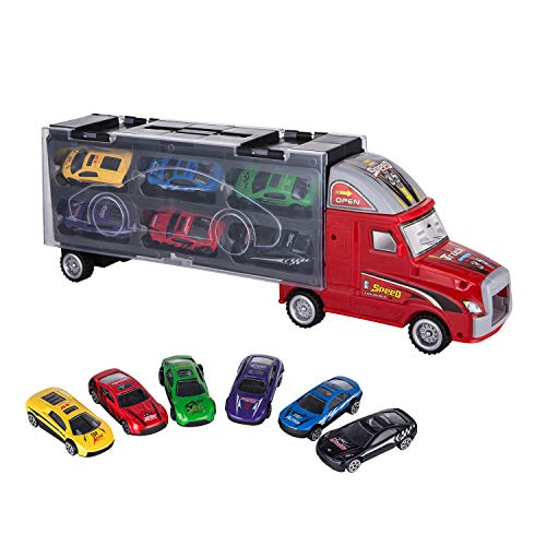 ASTOTSELL Transport Carrier Truck Toy, Car Transporter con 12 Mini Metal Metal Cars per...