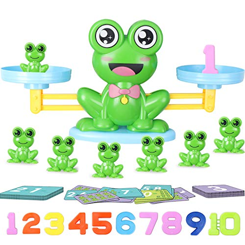 Hiveseen GiochiMatematici, Giochi Educativi Montessori, 64Pcs Giocattoli Rana Bilancia...