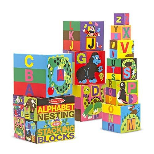 Melissa & Doug- Set di Blocchi in Cartone con Alfabeto, Multicolore, 2782