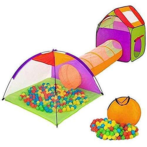 BAKAJI Tenda Igloo per Bambini con 200 Palline + Tunnel + Casetta Tenda da Gioco con...