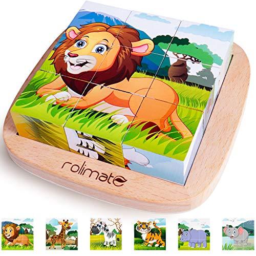rolimate Puzzle di Legno, Leone Zebra Elefante Rinoceronte Tigre Giraffa, Giochi Legno...