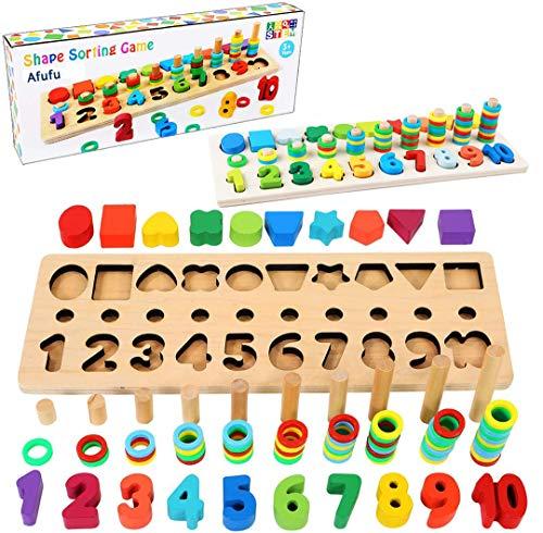 Afufu Giochi Bambini 3+ Anni, Giocattoli Educativi Montessori da Puzzle in Legno, Anelli...