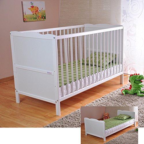 Bianco lettino di legno per bambini Materasso di lusso Aloe Vera Tre posizioni di altezza...