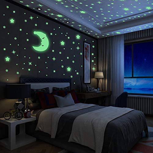 Adesivi da Parete Fluorescenti Yosemy 4 Pezzi Stelle Ffluorescenti e 1 Pezzi Luna,...