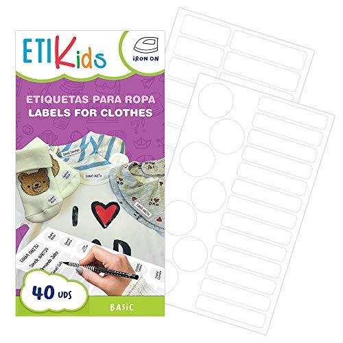 ETIKIDS , 40 Etichette termoadesive bianche, da STIRARE , in 4 formati diversi per...