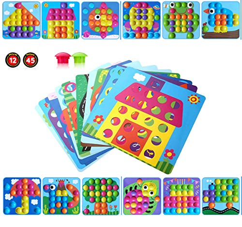 Gioco Bottoni per Bambini Apprendimento Mosaico Unghie Giocattolo 3D Puzzle Button Art...