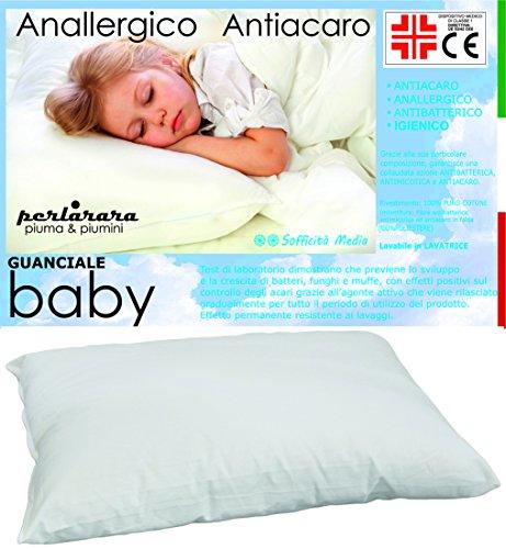 PERLARARA IL GUANCIALE Culla Cuscino Baby Lettino Puro Cotone E Fibra Anallergico CM 40 x...